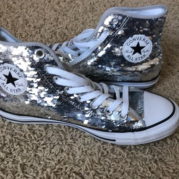 30b3f01f91efb1 Converse Shoes - Converse High Top Silver Sequin size 9 women s